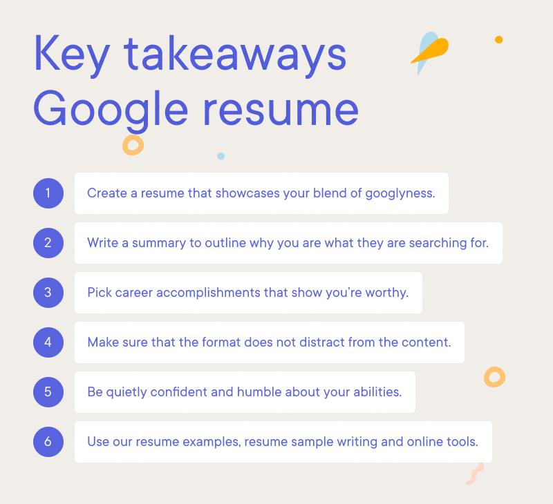 Google - Key takeaways Google resume